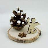 Vianočná dekorácia HESTIA - prírodná ozdoba s anjelom