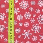 Vianočná látka - biele vločky na červenej