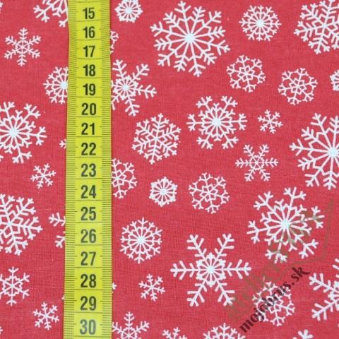 Vianočná látka - biele vločky na červenej - metráž