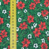 Vianočná látka - vianočná ruža na zelenej