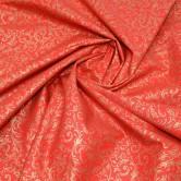 Vianočná látka - zlaté ornamenty na červenej
