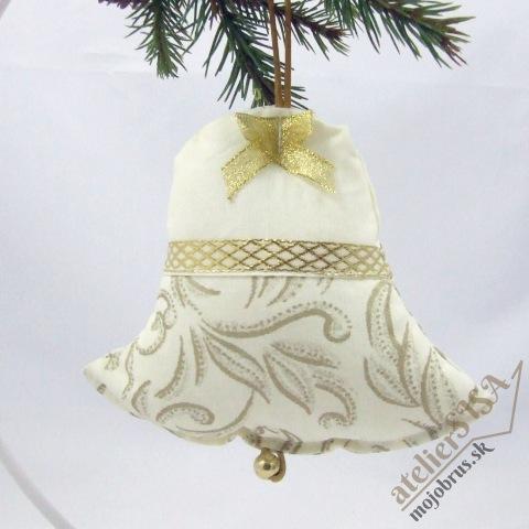 vianočný zvonček SLÁVKA - závesná textilná dekorácia
