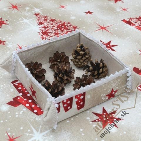 vianočný štvorcový košíček - textilná dekorácia