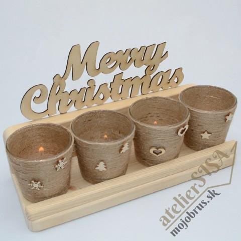 Vianočný adventný svietnik PERSEUS - drevená závesná polička
